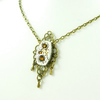 VictorianFolly SteamPunk Necklace with Hamilton Watch Movement and adorned with Swarovski Crystals
