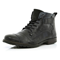 Black military style boots  - boots - shoes / boots - men