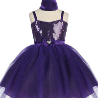 Dazzling Sequin Special Occasion Dress with Shimmer Skirt