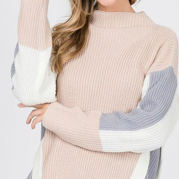 Two Tone Side Sweater - Taupe