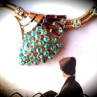 Cluster Necklace , Art Deco Serpentine Baguette & Blue Rhinestone Grape