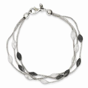 Sterling Silver Rhodium Mesh White & Black Crystal Beads Bracelet