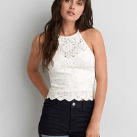 AEO FIRST ESSENTIALS HALTER CROP TOP