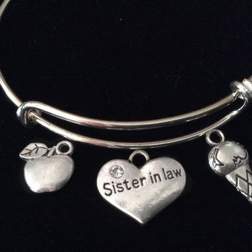 Sister In Law Expandable Charm Bracelet Bangle Adjustable Ice Cream Cone Apple Gift