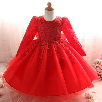 Toddler Girl Infant Lace Christening Gown Princess Girl Baby Party Frock Wedding Bridesmaid Baptism First Birthday Dress Vestido