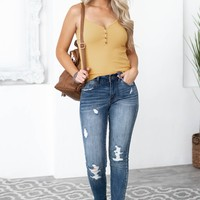 Adjustable Strap Button Rib Tank | Mustard