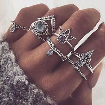 Bohemian 8pcs/Set Retro Anti Silver Anti Gold Rings Stackable Midi Rings Set Rings