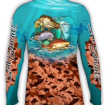 SaltBandits™ Red Fish Red Camouflage Performance Long Sleeve T-Shirt