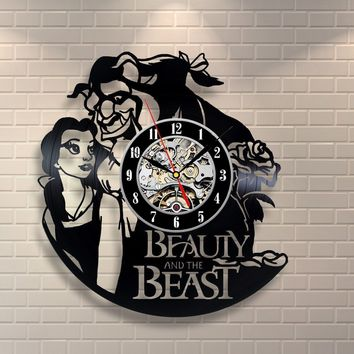 BEAUTY AND THE BEAST 3 VINYL RECORD WALL CLOCK UNIQUE DESIGN