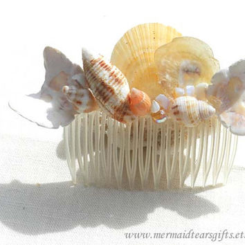 Butterfly sea shells mermaid hair comb