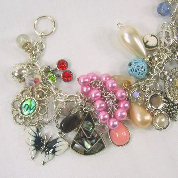 Charm Bracelet Vintage Rhinestones Enamel Faux Pearl Cherries Abalone Silver Tone Upcycle Recycle