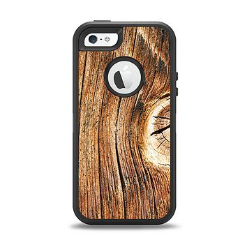 The Knobby Raw Wood Apple iPhone 5-5s Otterbox Defender Case Skin Set