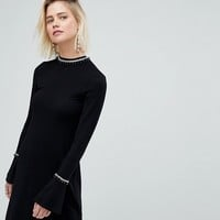 Warehouse Embellished Neck Flare Cuff Knitted Dress at asos.com