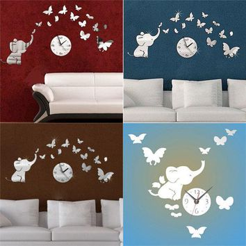 DIY Elephants Qute Butterfly Mirror Wall Clock Acrylic Sticker Kids Room Art Decor