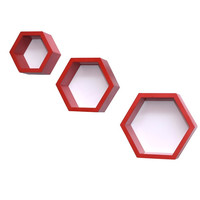 Aakashi Red Hexagonal 3 Piece Wall Shelf