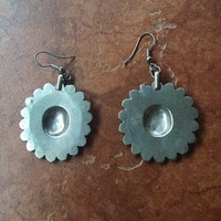 Vintage Silver Tone Southwest Tribal Earrings Turquoise and Coral Dangle