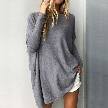 Gray Long-Sleeved Round Neck Loose Shirt