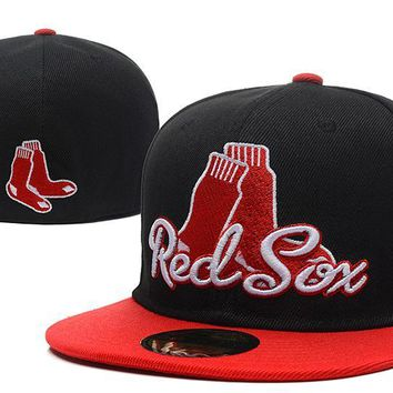 auguau Boston Red Sox New Era MLB Authentic Collection 59FIFTY Hat Black-Red