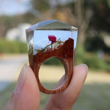 Rose Blooming Forest Wooden Ring