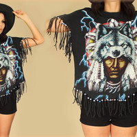 ViNtAgE 90s Beaded FRINGE Spirit WOLF Thunder Native American Feathers T-Shirt ooak Free Size