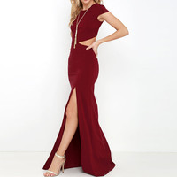 Long Dress Button Side Split Maxi Dress