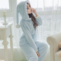 DCCKU62 Fashion Women Pajama Set Cute Witch Pajamas with Hat Warm Flannel Coral Fleece Cute Sleepwear Women's Sleep Lounge Pajama 237
