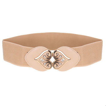 Women Waist Belt Peach Rhinestone Buckle Elastic Stretch Wide Waistband