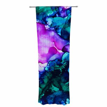 "Claire Day ""Nebula"" Teal Multicolor Abstract Painting Decorative Sheer Curtain"