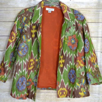 Coldwater Creek Size Large Embroidered Open Front Jacket Linen/Cotton Earthtones
