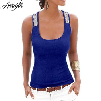 Awaytr Spring Summer New Tank Tops Women Sleeveless Square Neck Loose Bodycon T Shirt Ladies Vest Singlets Sequined Black Tops