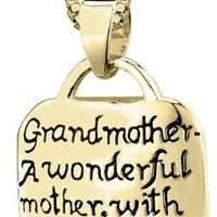 "Sterling Silver ""Grandmother A Wonderful Mother with Lots Of Practice"" Square Pendant Necklace, 18"""