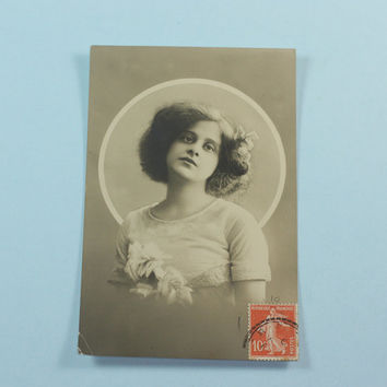 Antique RPP Postcard Young French Woman Black and White