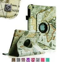 Fintie iPad mini 1/2/3 Case - 360 Degree Rotating Stand Case Cover with Auto Sleep / Wake Feature for Apple iPad mini 1 / iPad mini 2 / iPad mini 3, Map White