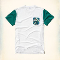 Printed Pocket Colorblock T-Shirt