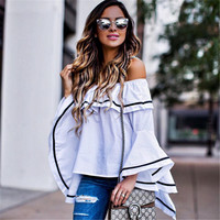 Long Sleeve Leaf White T-shirts Tops [9753217999]