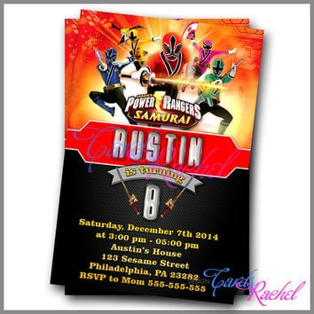 Power Ranger Samurai - Invitation Card Design For Birthday Party Kid