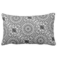 Black and White Sun Mandala Print Throw Pillow