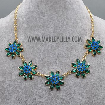 Emerald Green Forget Me Not Statement Necklace