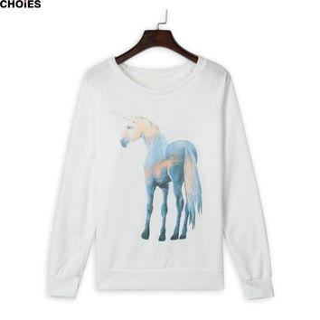 Women White Horse Print Long Sleeve Sweatshirt Loose Round Neck  Spring Autumn Cotton Hoodies Pullover New Fashion Top
