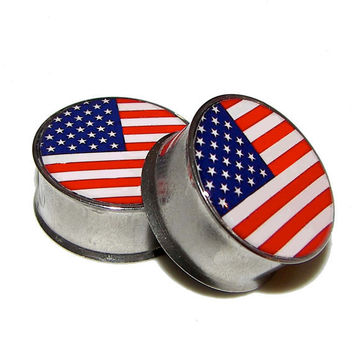 "American Flag Plugs - 1 Pair - Sizes 2g, 0g, 00g, 7/16"", 1/2"", 9/16"", 5/8"", 3/4"", 7/8"" & 1"""