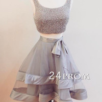 Cute gray 2 pieces short prom dress, homecoming dress