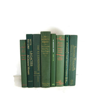 Green Vintage Decorative Books for Wedding Decor and Photo Prop