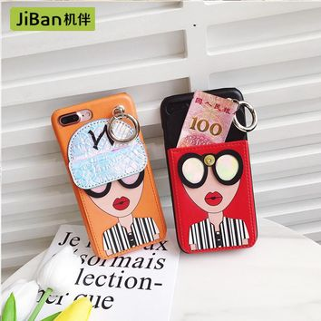 JiBan Eye goddess purse for iphoneX case mobile phone shell leather strap lock tpu phone shell for iphone 6 6s 7 plus cases