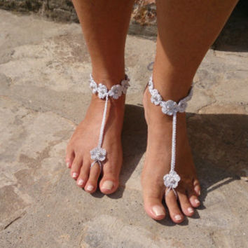 Silver  Wedding  Barefoot Sandals Flowers with pearls,  Crochet Wedding Shoes , Foot Jewelry, Brides Accessories
