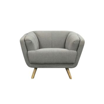 "Modern Scandinavian Light Grey ""Alice"" Armchair with Slanted Legs"