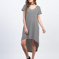 Hi-Low Striped Tee Dress