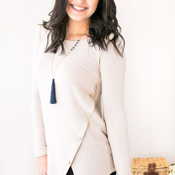 Side Eyes Taupe Top With Side Buttons