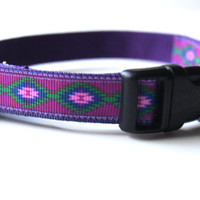 Purple Native Dog Collar Adjustable Sizes (XS, S, M)