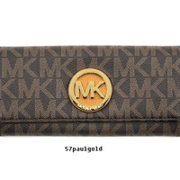 NWT Michael Kors Fulton Flap Logo Continental Clutch Wallet Brown/Acorn New $178