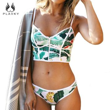 New fashion Sexy Floral Zipper High Neck Women Brazilian Push Up Swimsuit